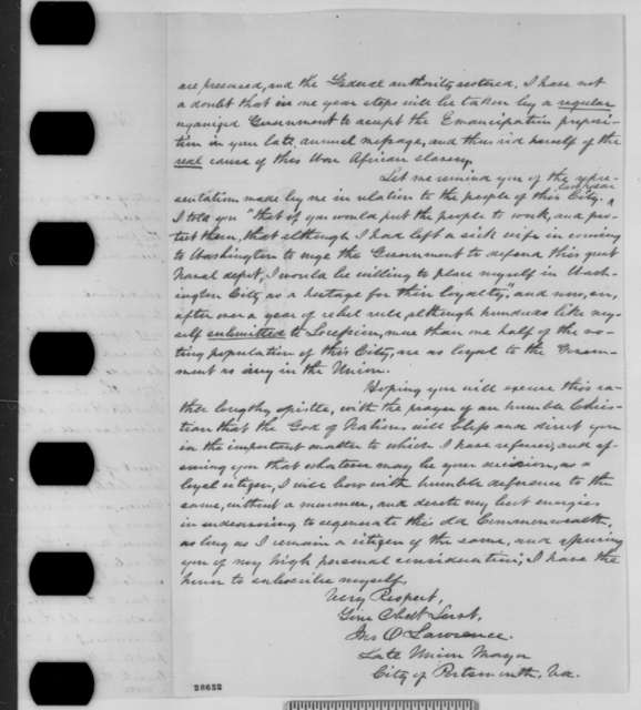 John O. Lawrence to Abraham Lincoln, Saturday, December 13, 1862  (West Virginia statehood)