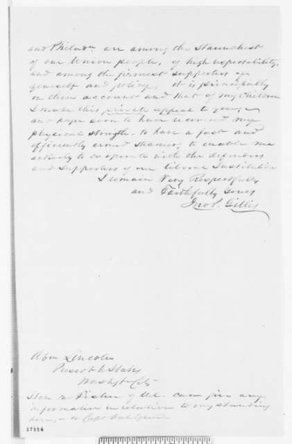 John P. Gillis to Abraham Lincoln, Tuesday, July 15, 1862  (Seeks promotion)