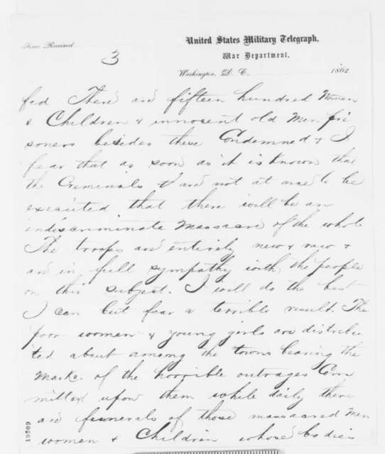 John Pope to Abraham Lincoln, Tuesday, November 11, 1862  (Telegram concerning 300 Sioux sentenced to be executed)