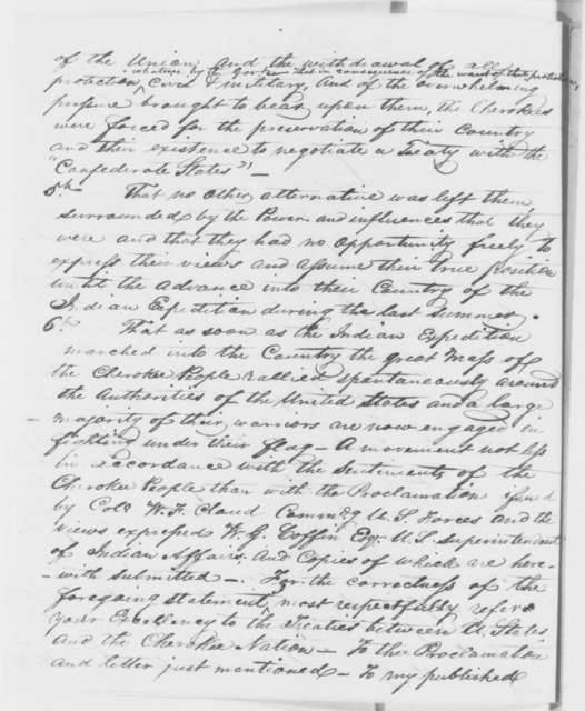John Ross to Abraham Lincoln, Tuesday, September 16, 1862  (Relations between the U.S. and Cherokee Nation)