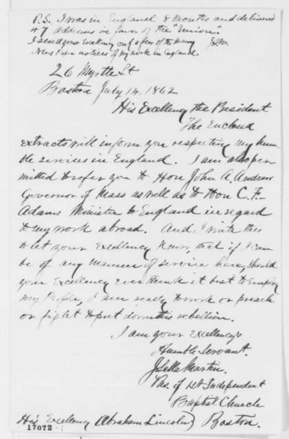 John Sella Martin to Abraham Lincoln, Monday, July 14, 1862  (Tenders his services to the government)