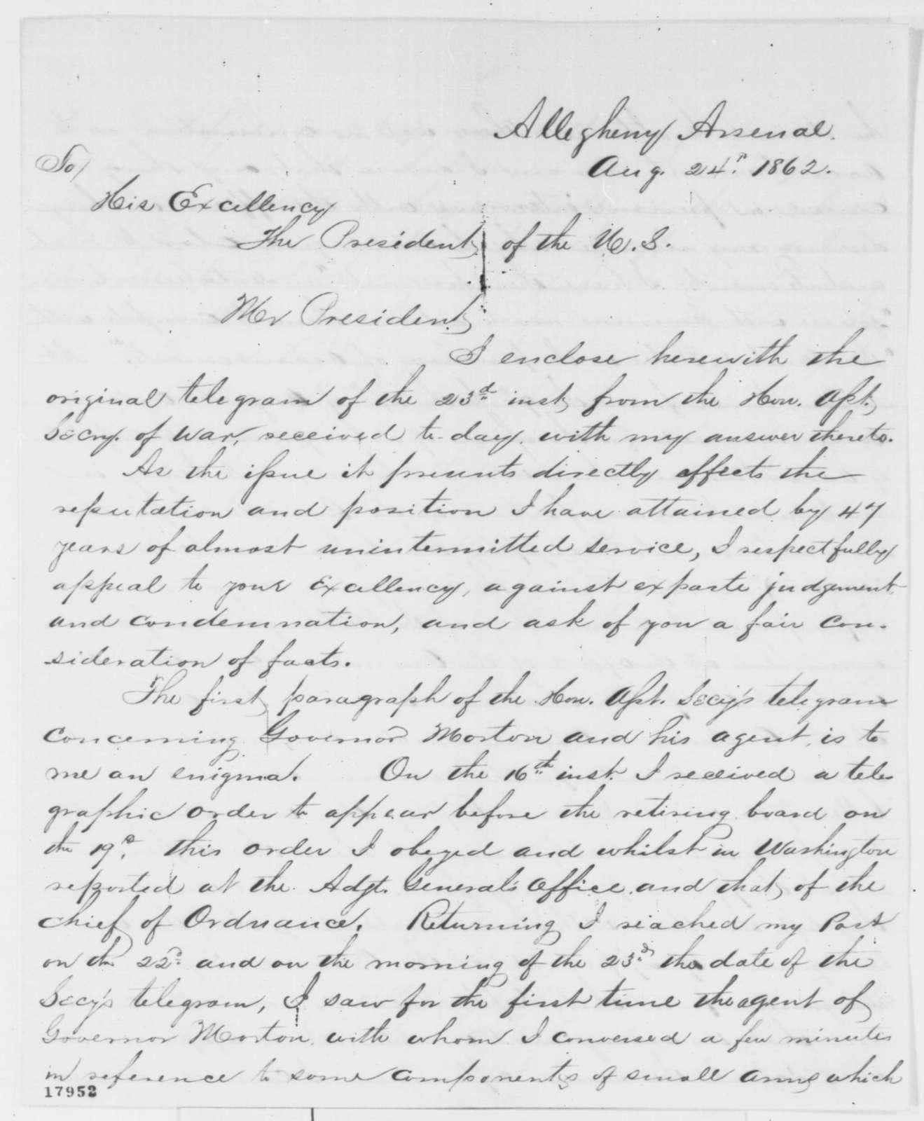 John Symington to Abraham Lincoln, Sunday, August 24, 1862  (Military affairs)