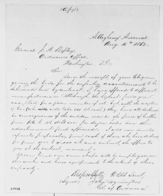 John Symington to James W. Ripley, Saturday, August 16, 1862  (Military supplies)