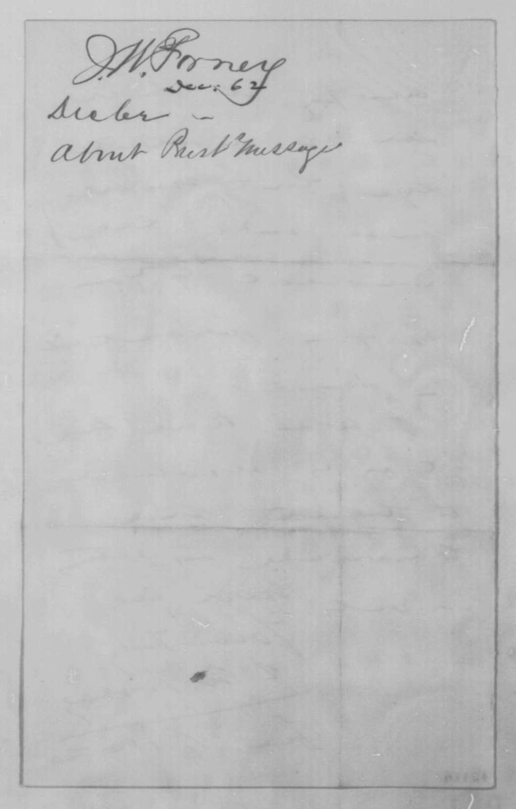 John W. Forney to John G. Nicolay, Monday, December 01, 1862  (Annual Message)