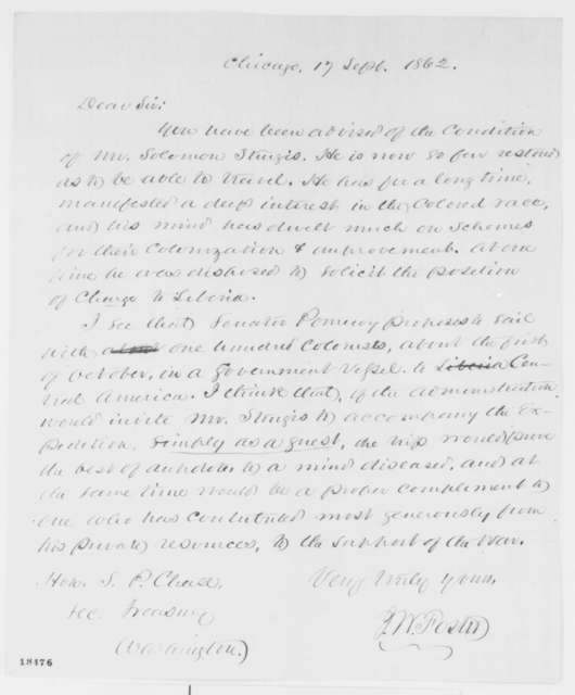 John W. Foster to Salmon P. Chase, Wednesday, September 17, 1862  (Solomon Sturges and colonization)