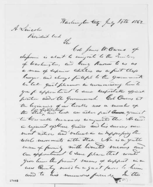 John W. Noell and J. B. Henderson to Abraham Lincoln, Monday, July 14, 1862  (Recommendation)