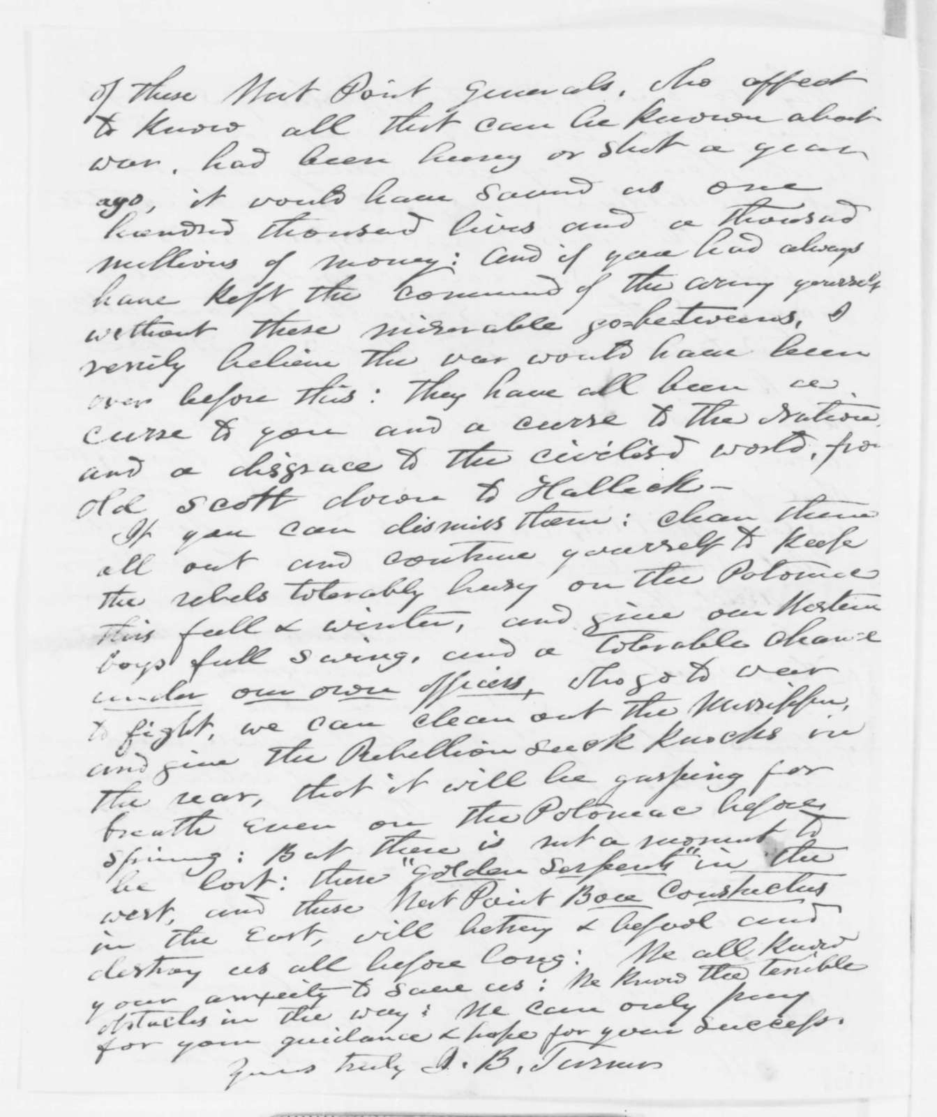 Jonathan B. Turner to Abraham Lincoln, October 1862  (Views on the conduct of the war)