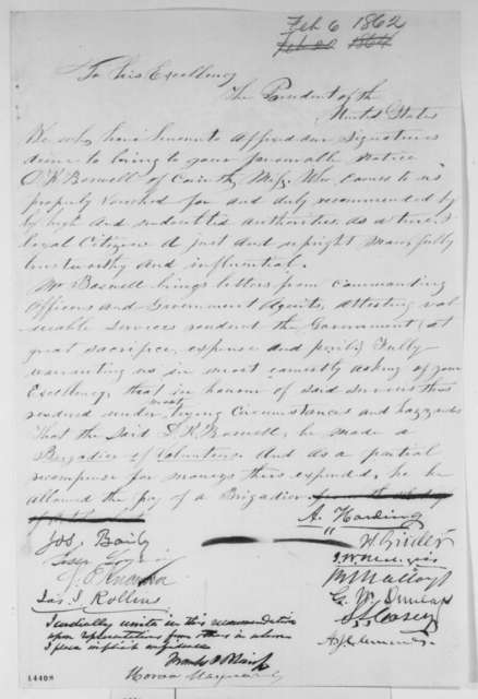 Joseph Bailey, et al. to Abraham Lincoln, Thursday, February 06, 1862  (Petition recommending military appointment)