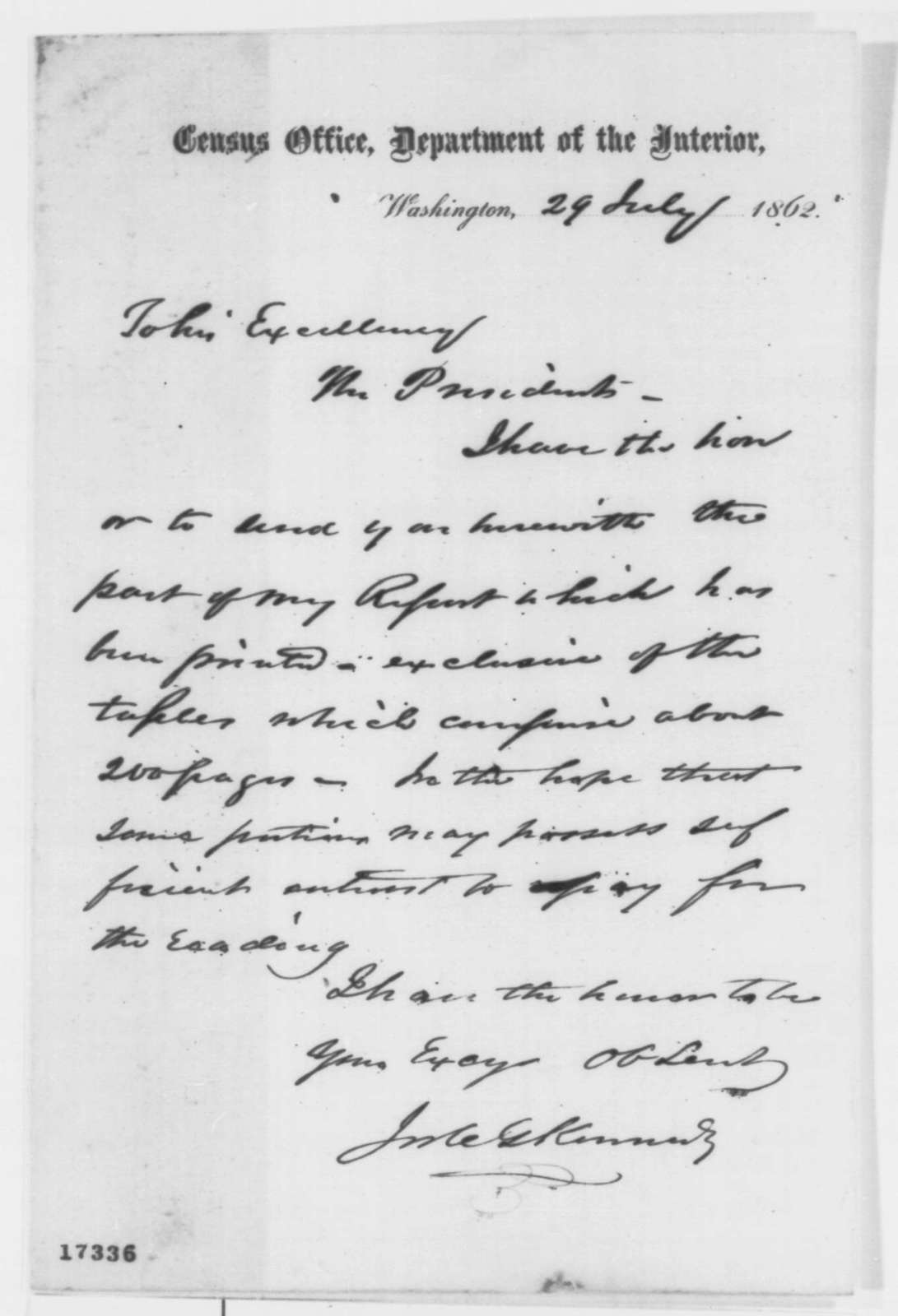 Joseph C. G. Kennedy to Abraham Lincoln, Tuesday, July 29, 1862  (Sends report)