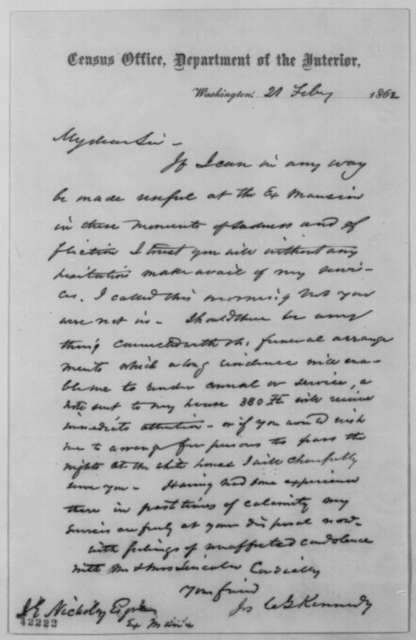 Joseph C. G. Kennedy to John G. Nicolay, Friday, February 21, 1862  (Tenders his services at the White House)