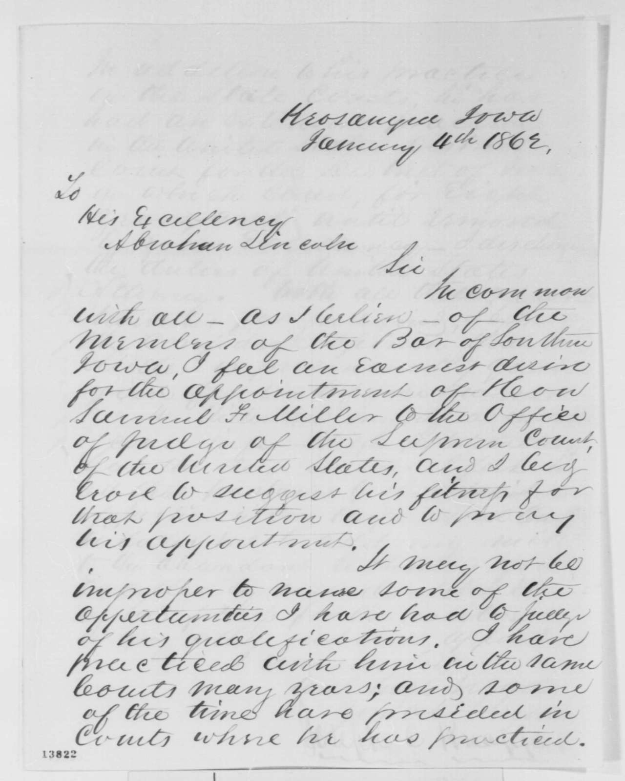 Joseph C. Knappe to Abraham Lincoln, Saturday, January 04, 1862  (Recommendation)