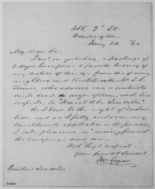 Joseph E. Segar to Abraham Lincoln, Friday, January 24, 1862  (Sends terrapins)