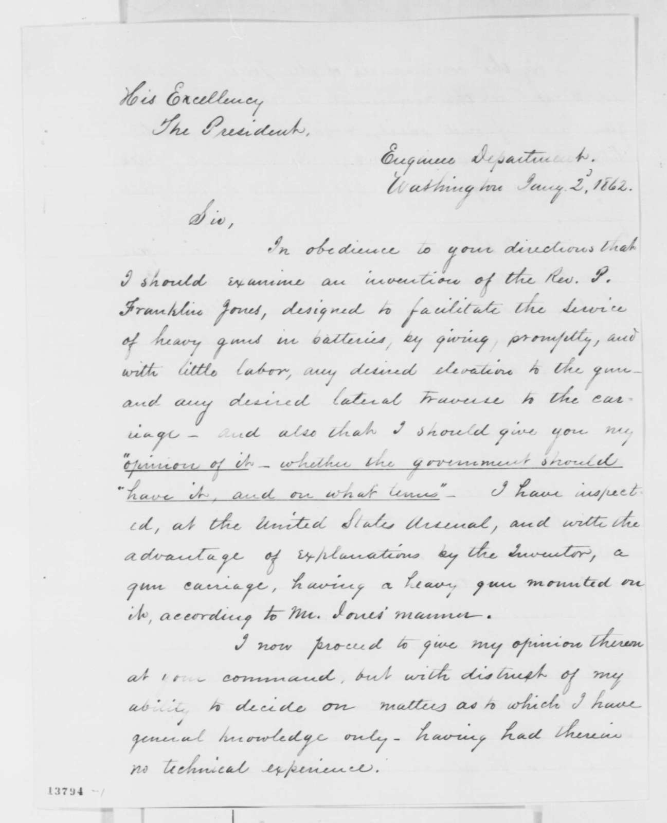 Joseph G. Totten to Abraham Lincoln, Thursday, January 02, 1862  (Report on a military invention)