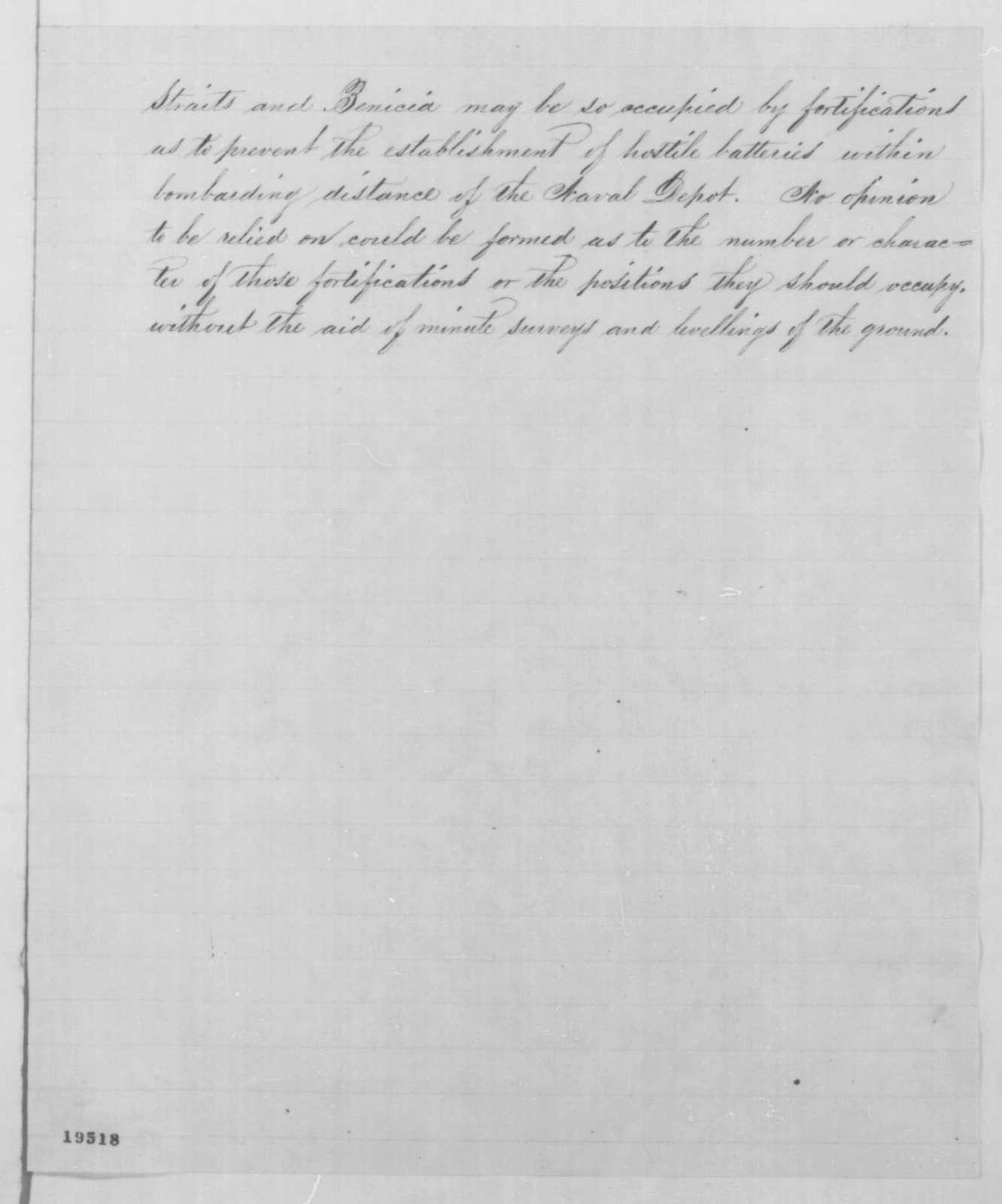 Joseph G. Totten to Edwin M. Stanton, Wednesday, November 12, 1862  (Defense of Pacific Coast)