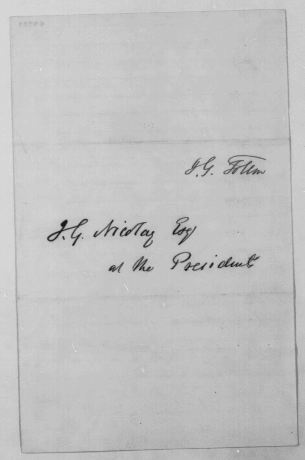 Joseph G. Totten to John G. Nicolay, Thursday, May 22, 1862  (Cover letter)