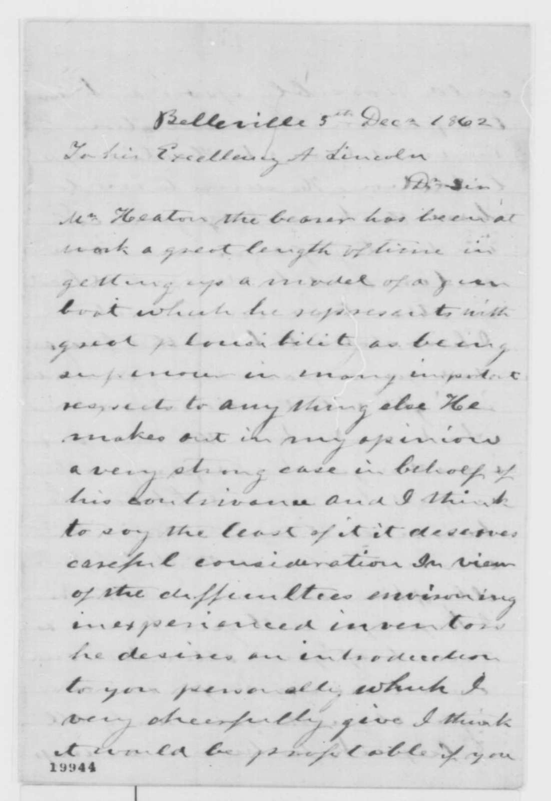 Joseph Gillespie to Abraham Lincoln, Friday, December 05, 1862  (Introduction)