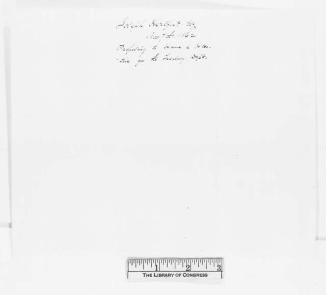 Joseph Hertford to Abraham Lincoln, Friday, November 07, 1862  (Presents letter from Allan Pinkerton and requests appointment)