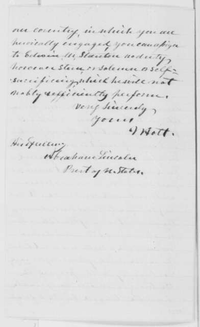 Joseph Holt to Abraham Lincoln, Wednesday, January 15, 1862  (Appointment of Edwin Stanton)