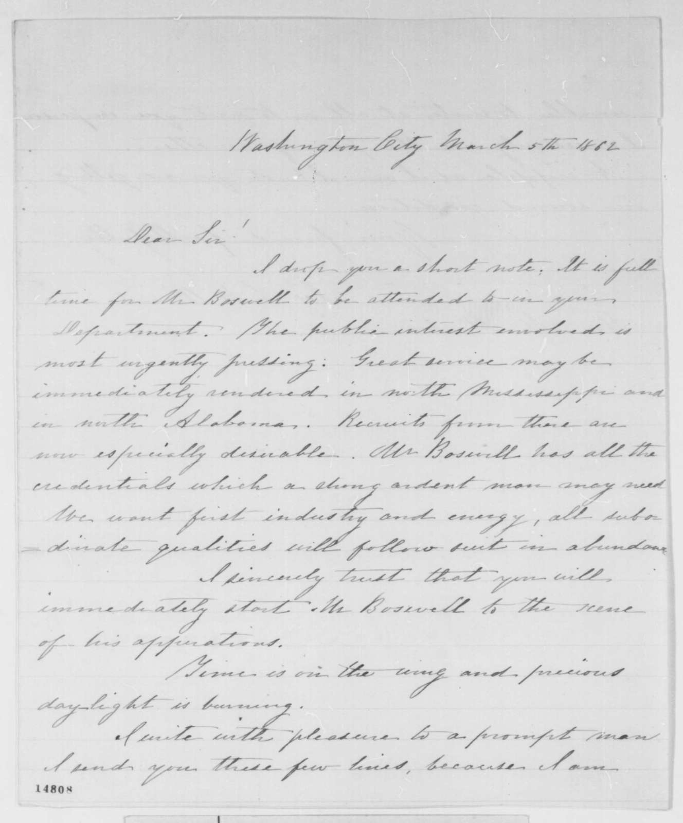 Joseph L. Williams to Edwin M. Stanton, Wednesday, March 05, 1862  (Recommendation)