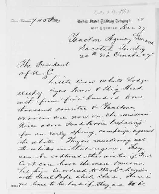 Joseph L. Williams, Walter A. Burleigh, and William Jayne to Abraham Lincoln, Wednesday, December 24, 1862  (Telegram regarding Indian affairs in Dakota Territory)