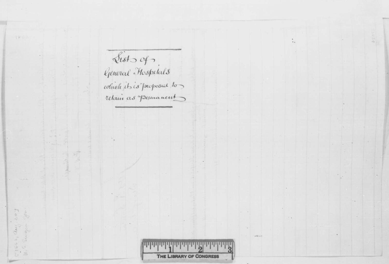 Joseph R. Smith to John Hay, Wednesday, August 20, 1862  (Sends list of hospitals)