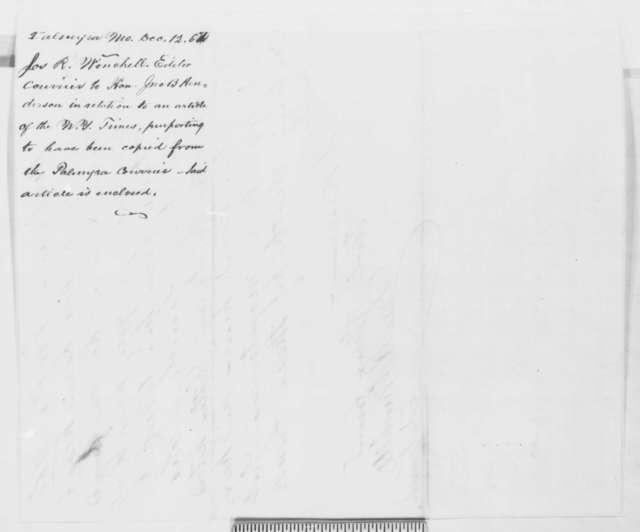 Joseph R. Winchell to John Henderson, Friday, December 12, 1862  (Military executions in Missouri)