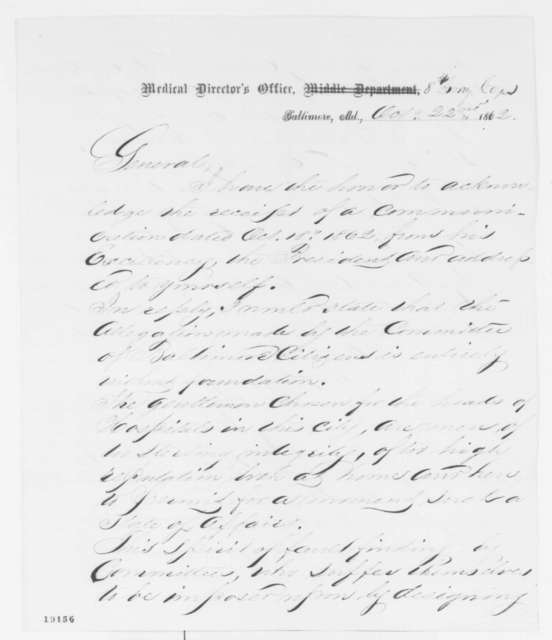 Josiah Simpson to William A. Hammond, Wednesday, October 22, 1862  (Conditions at hospital in Baltimore)