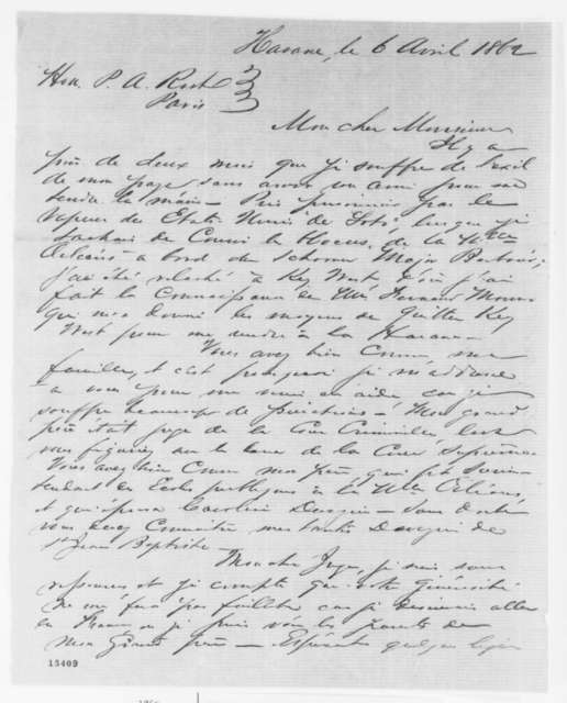 L. Placide Canarge Jr. to P. A. Rust, Sunday, April 06, 1862  (in French)