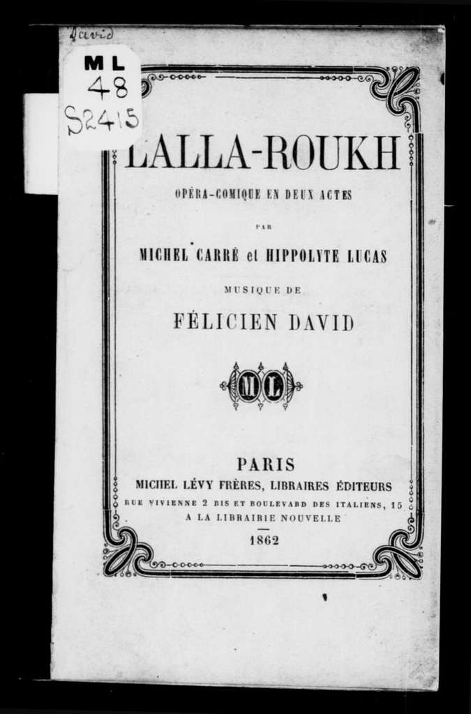 Lalla-Roukh. Libretto. French