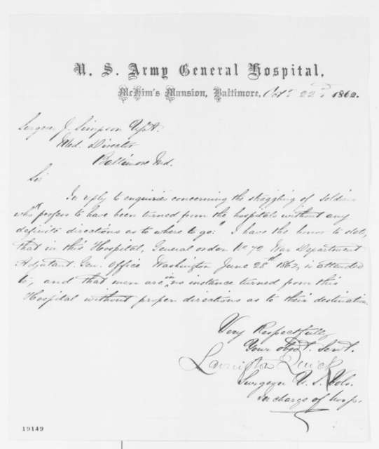 Lavington Quick to Josiah Simpson, Wednesday, October 22, 1862  (Conditions at hospital in Baltimore)