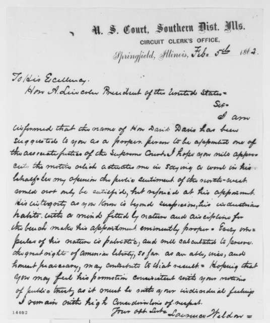 Lawrence Weldon to Abraham Lincoln, Wednesday, February 05, 1862  (Recommends David Davis)