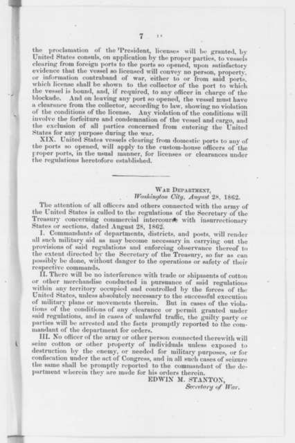 Laws & Statutes, Thursday, August 28, 1862  (Pamphlet)
