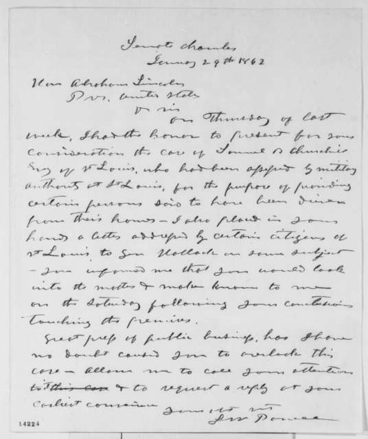 Lazarus W. Powell to Abraham Lincoln, Wednesday, January 29, 1862  (Affairs in Missouri)