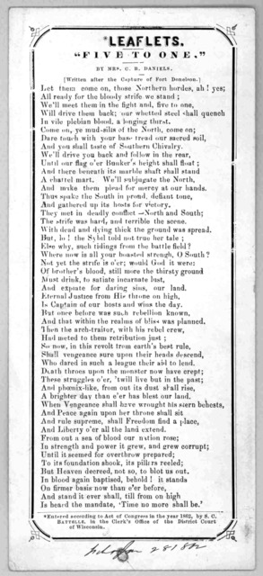 "Leaflets. ""Five to one."" by Mrs. C. B. Daniels. Written after the capture of Fort Donelson. [c. 1862]."