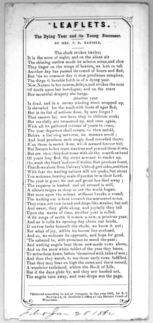 Leaflets. The dying year and its young successor. by Mrs. C. B. Daniels. [c. 1862].