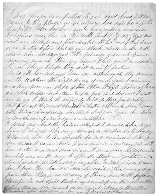 Letter from Dr. David Ramsey Crawford to Juliana Smith Reynolds, 1862
