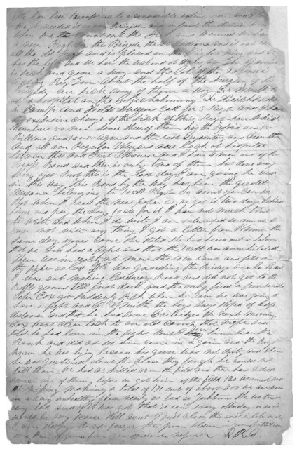 Letter from Dr. David Ramsey Crawford to Juliana Smith Reynolds, June 14, 1862