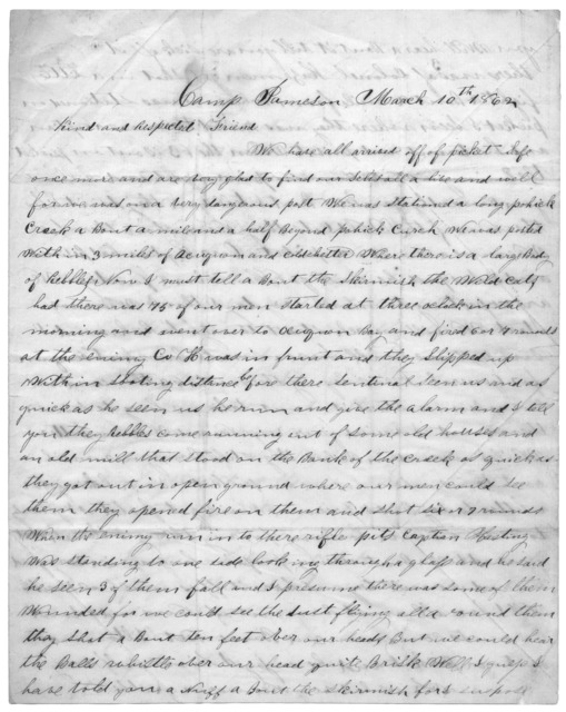 Letter from Joseph F. Green to Juliana Smith Reynolds, March 10, 1862