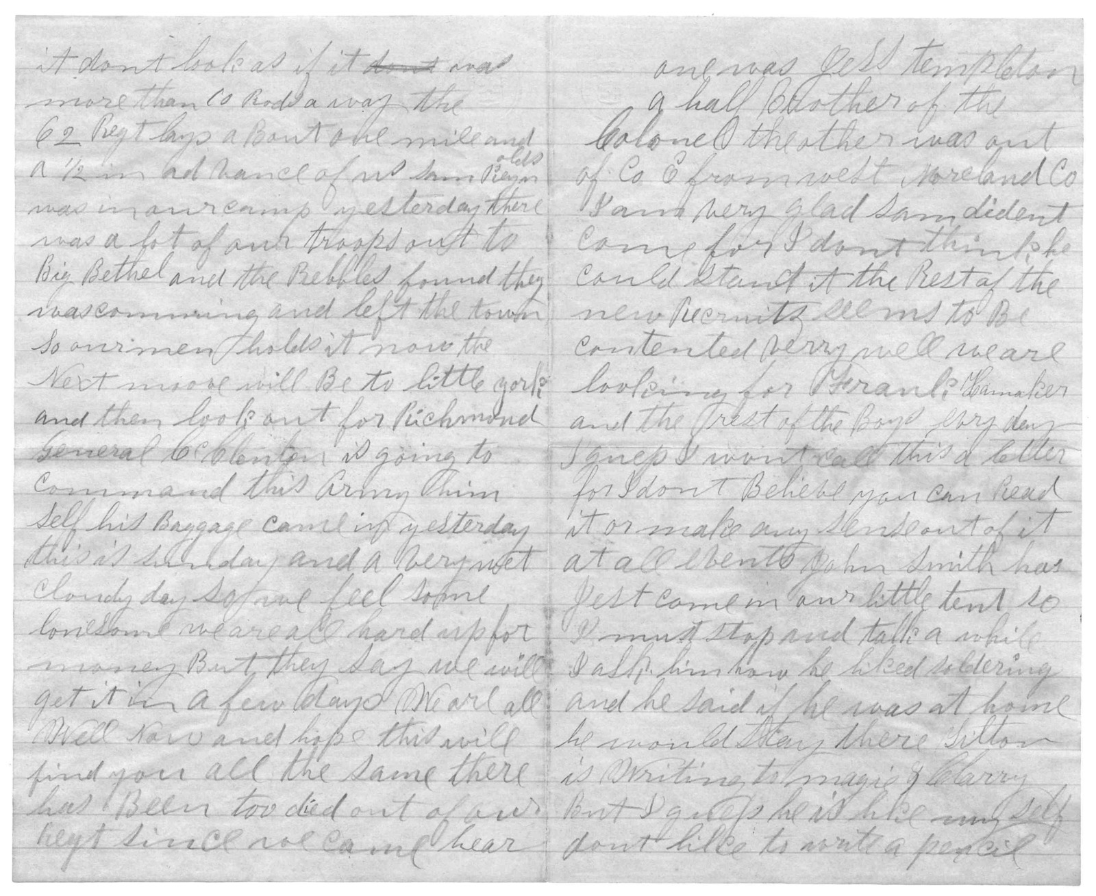 Letter from Joseph F. Green to Juliana Smith Reynolds, March 31, 1862