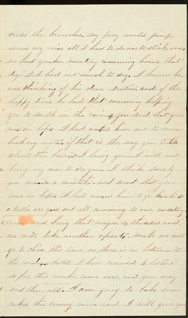 Letter from Short Straitgate to Mattie V. Thomas, March 27, 1862