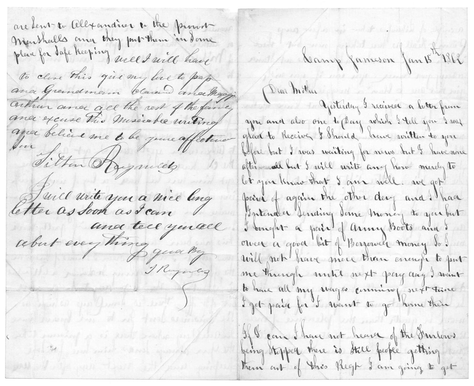 Letter from Tilton C. Reynolds to Juliana Smith Reynolds, January 15, 1862