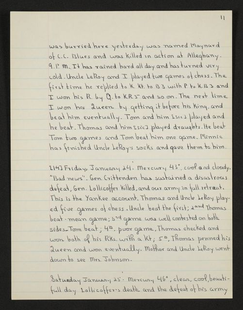 Lewis H. Machen Family Papers: Diaries and Diary Transcriptions, 1860-1865; Diaries; Gresham, LeRoy Wiley; Transcriptions; 1862