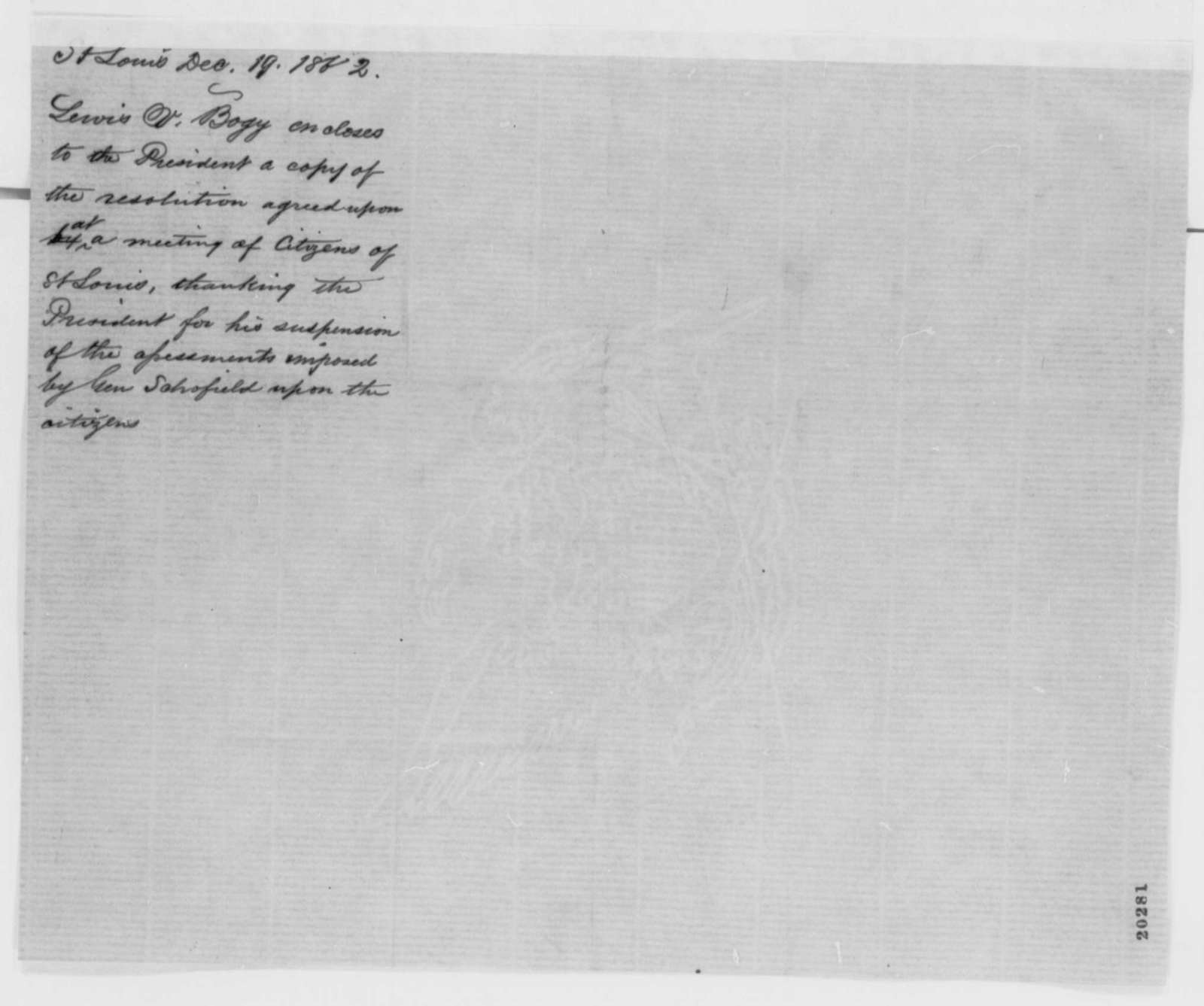 Lewis V. Bogy to Abraham Lincoln, Friday, December 19, 1862  (Cover letter)