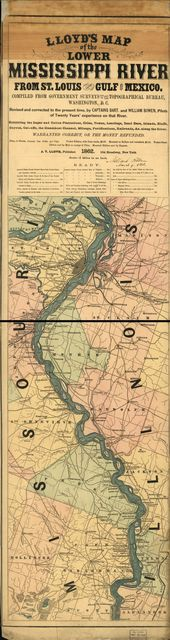 Lloyd's map of the lower Mississippi River from St. Louis to the Gulf of Mexico; compiled from Government surveys in the Topographical Bureau, Washington, D.C.