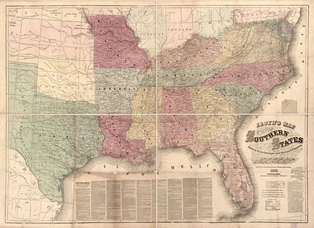 Lloyd's map of the southern states showing all the railroads, their stations & distances, also the counties, towns, villages, harbors, rivers, and forts, compiled from the latest Government and other reliable sources, 1862 /