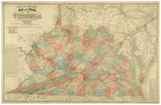 Lloyd's official map of the state of Virginia : from actual surveys by order of the Executive 1828 & 1859 /