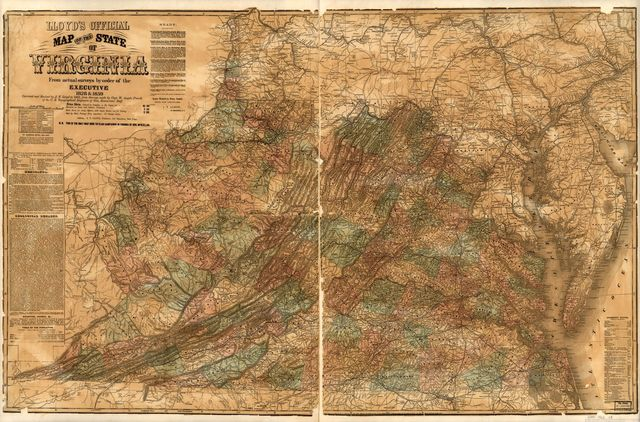 Lloyd's official map of the state of Virginia from actual surveys by order of the executive, 1828 & 1859 /