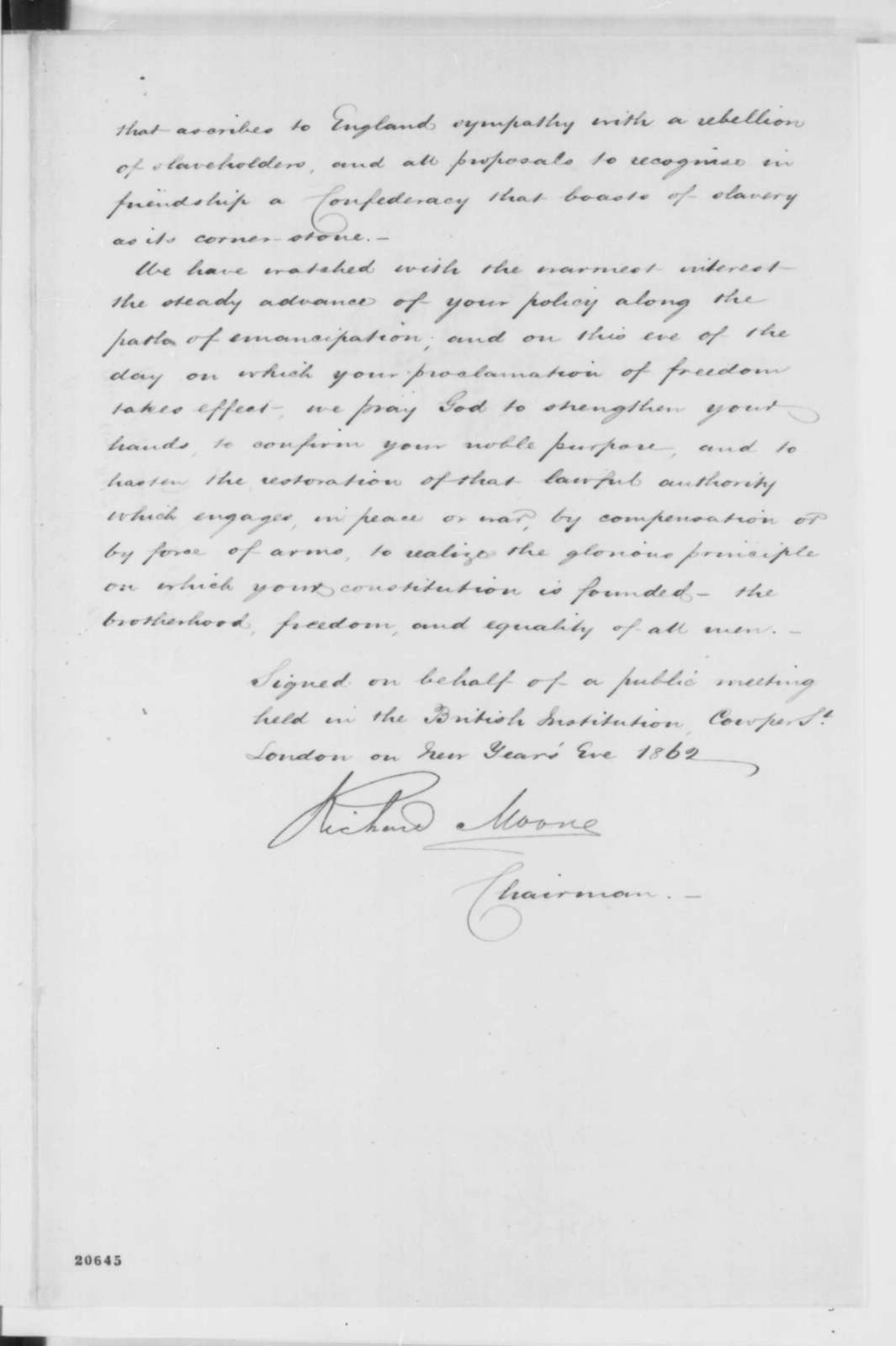 London England Workingmen to Abraham Lincoln, Wednesday, December 31, 1862  (Support for emancipation and free labor)