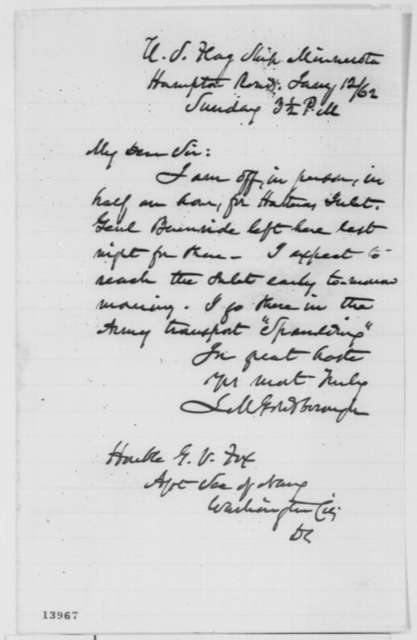 Louis M. Goldsborough to Gustavus V. Fox, Sunday, January 12, 1862  (Military affairs)