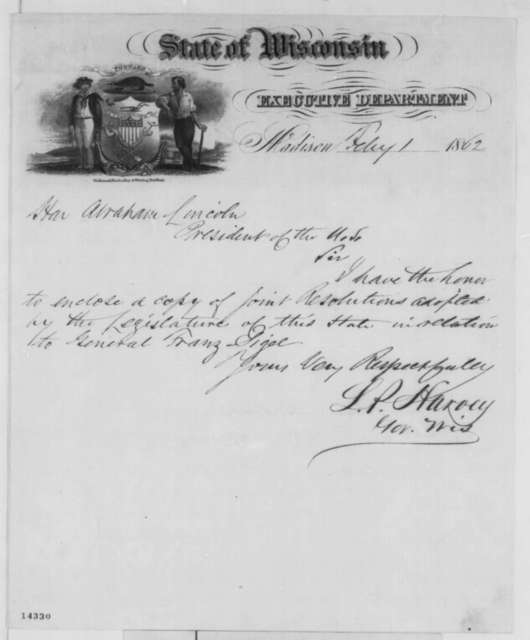 Louis P. Harvey to Abraham Lincoln, Saturday, February 01, 1862  (Cover letter)